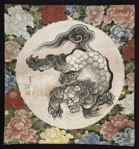 Gift cover (fukusa)Katsushika Hokusai (Japanese, 1760–1849)1844 (Koka 1)Silk plain weave with ink and color* William Sturgis Bigelow Collection* Photograph © Museum of Fine Arts, Boston