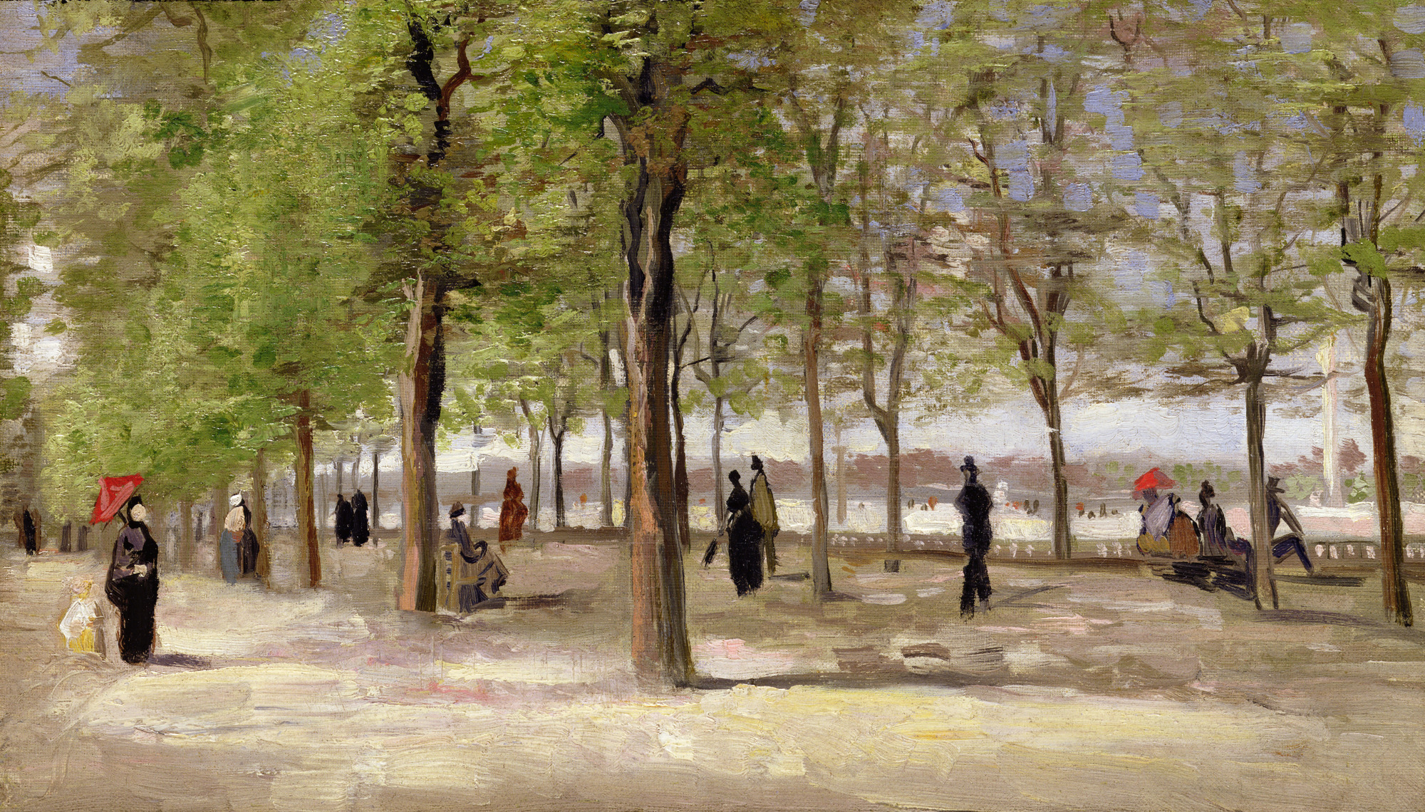 CLK340004 Terrace in the Luxembourg Garden, 1886 (oil on canvas) by Gogh, Vincent van (1853-90); 27.1x46.1 cm; Sterling & Francine Clark Art Institute, Williamstown, USA; Dutch,  out of copyright