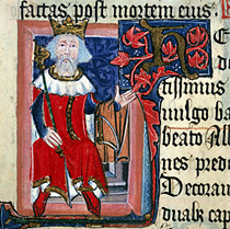 """King Henry III of England (around 1350-1400?).A page of illustrated Latin text showing King Henry III holding out his arm on which he carries a garment.Illuminated letter """"H"""" with red ivy. From the Chronicle of St.Albans by Thomas Walsingham. Cott.Nero.D.VII.fol.6"""