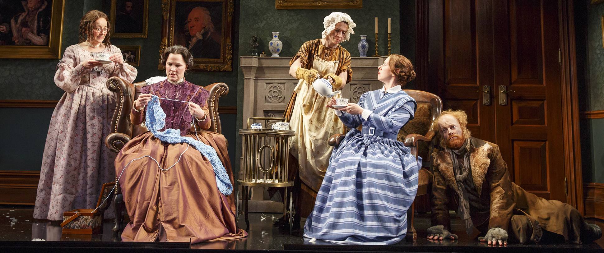Birgit Huppuch, Kelly McAndrew, Hannah Cabell, Miriam Silverman, and Jeff Biehl in THE MOORS by Jen Silverman, directed by Jackson Gay. Photo © Joan Marcus, 2016.