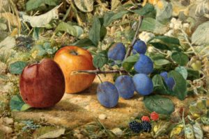 John William Hill, American (born England), 1812-1879, Apples and Plums, 1874. Watercolor on paper, 7 7/8 × 11 3/8 inches. Collection of Theodore E. Stebbins, Jr.